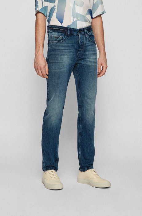 Tapered-fit jeans van blauw Italiaans denim op basis van biologische katoen, Donkerblauw