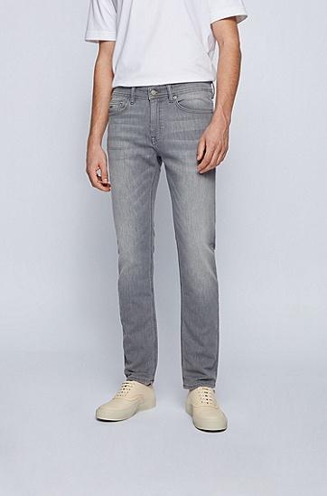 灰色针织牛仔布修身牛仔裤,  041_Silver