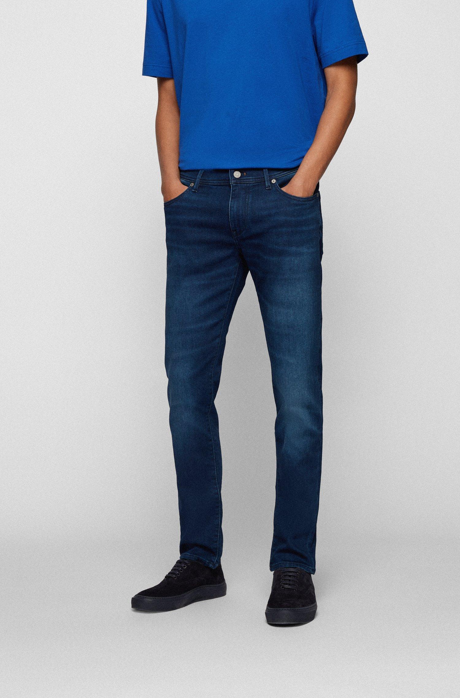 Skinny-fit jeans in dark-blue cosy-knit denim, Dark Blue