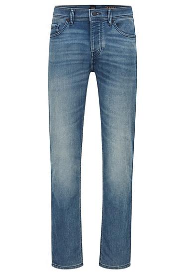 舒适针织牛仔布中蓝色锥形牛仔裤,  429_Medium Blue