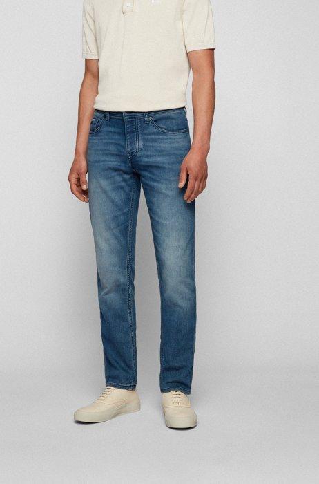 Tapered-fit jeans van middenblauw, comfortabel gebreid denim, Blauw