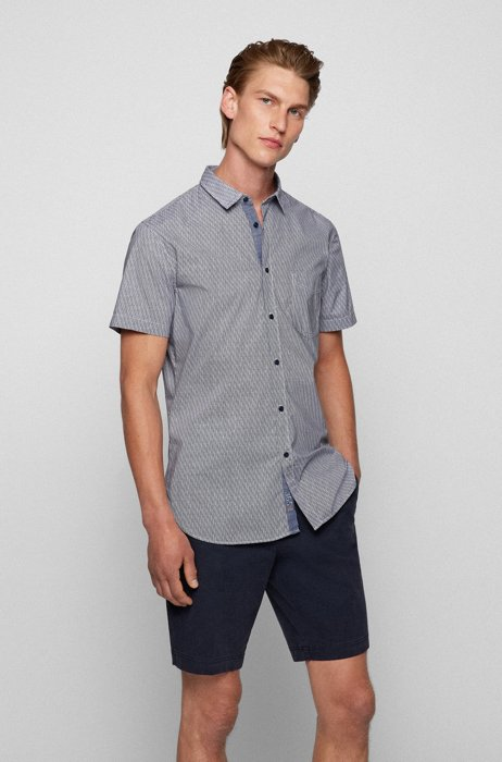 Slim-fit shirt in printed stretch cotton, Blue Patterned