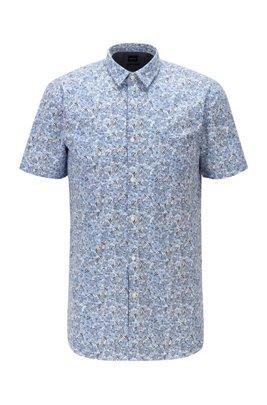 Chemise Slim Fit en coton stretch imprimé, Bleu à motif