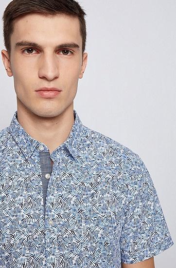 印花弹力棉修身衬衫,  428_Medium Blue