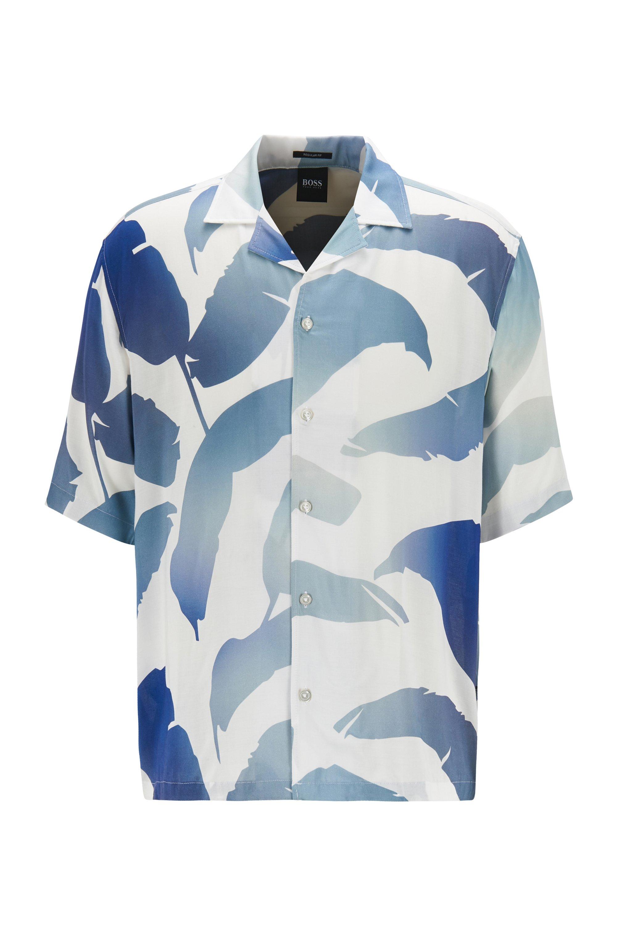 Regular-Fit Hemd aus Modal mit Blätter-Print, Blau gemustert