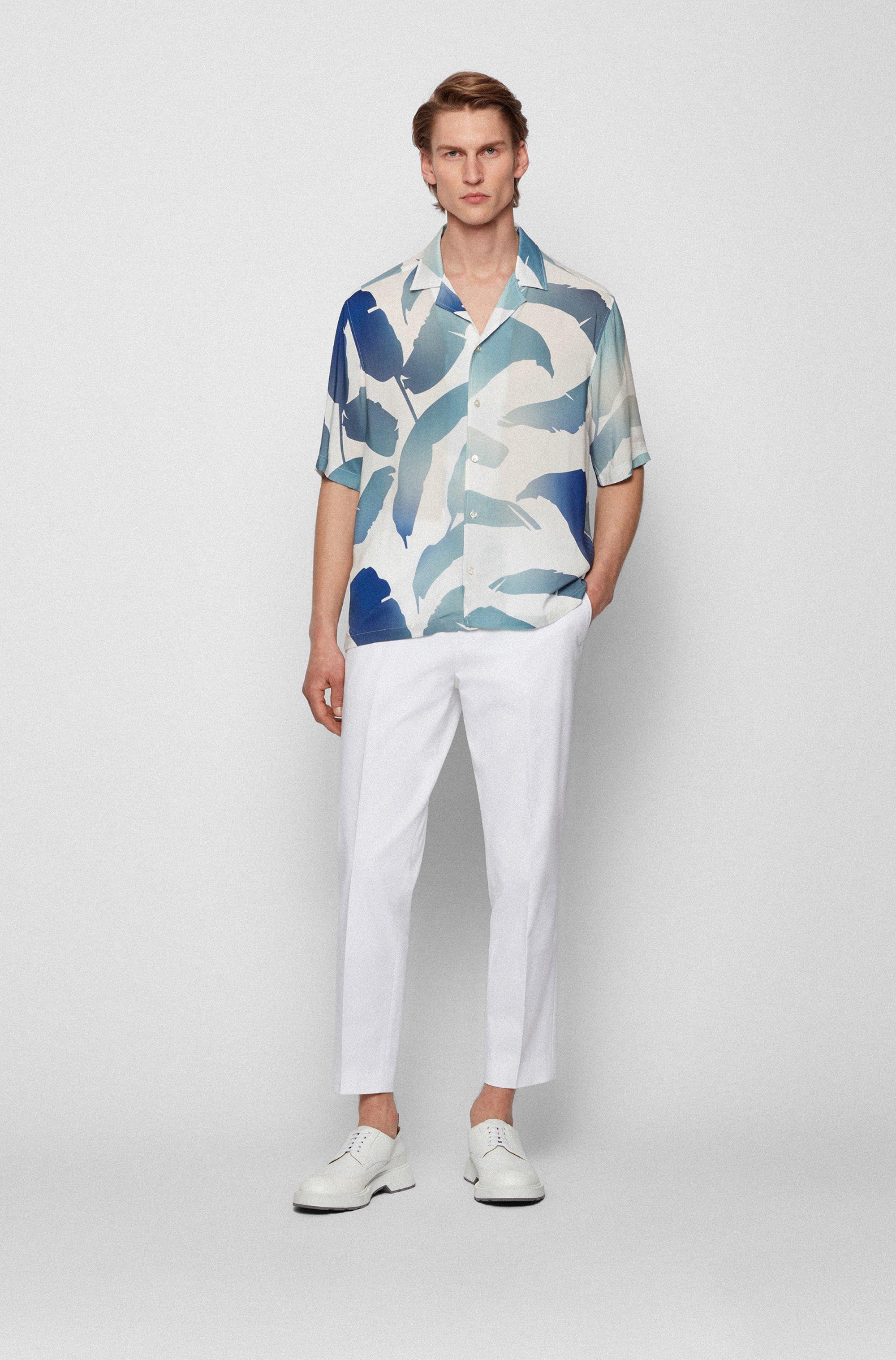 Regular-Fit Hemd aus Modal mit Blätter-Print