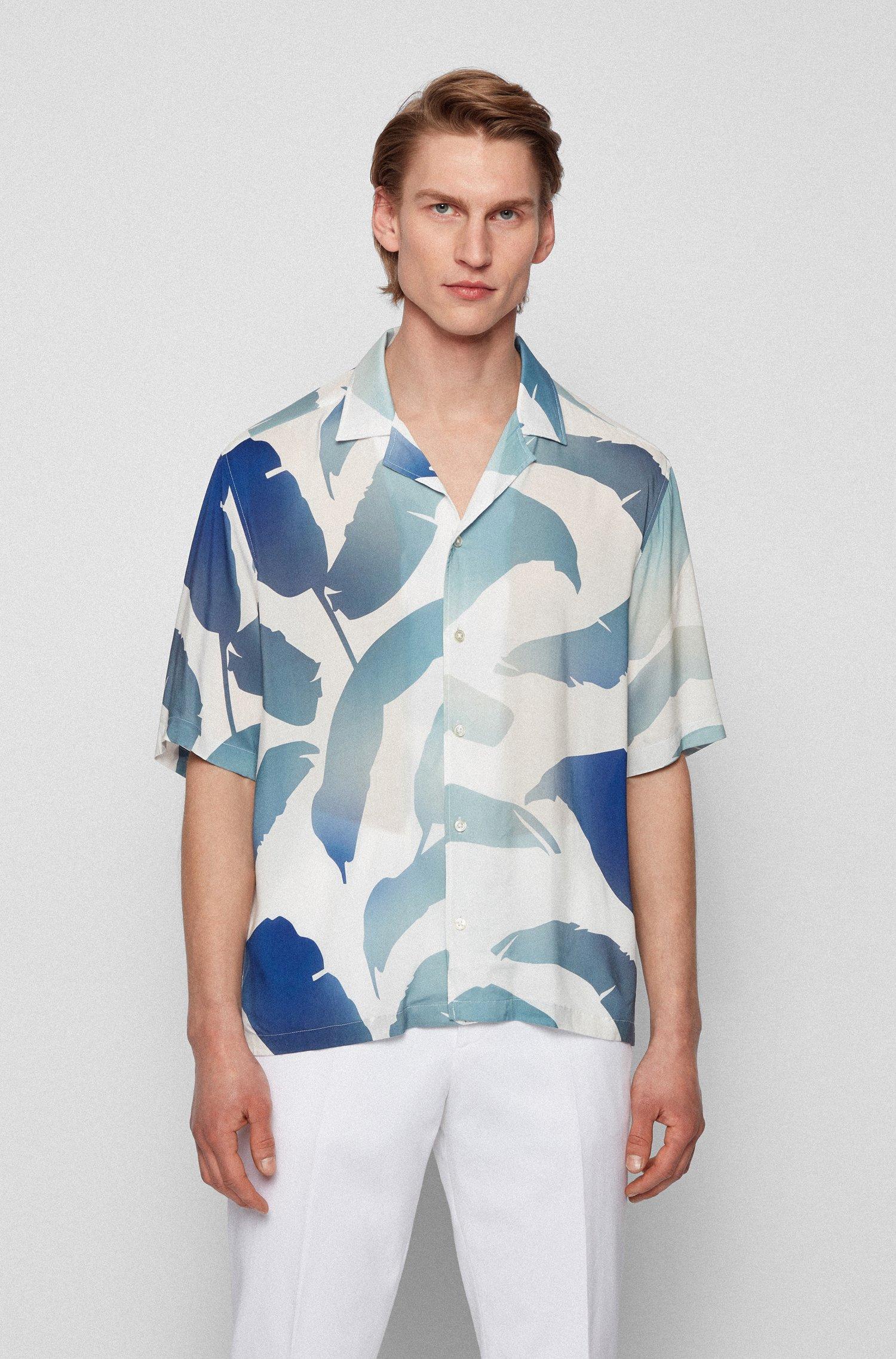 Regular-fit shirt in leaf-print modal, Blue Patterned