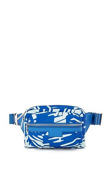 轻盈尼龙面料皮革饰面印花腰包,  428_Medium Blue