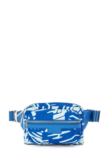 Printed belt bag in lightweight nylon with leather facings, Blue