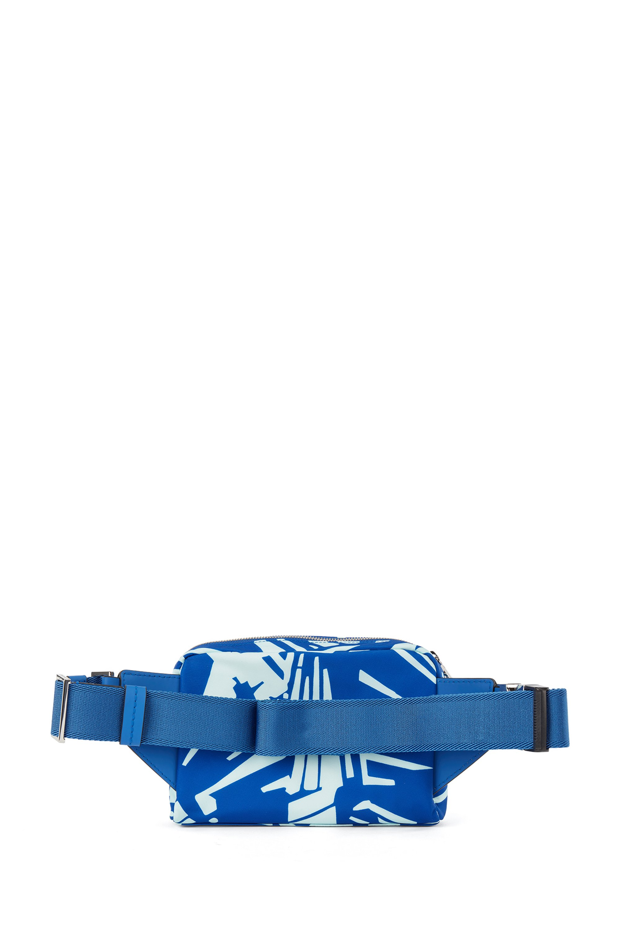 Printed belt bag in lightweight nylon with leather facings