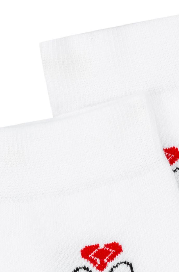 Quarter-length socks with Valentine's Day artwork