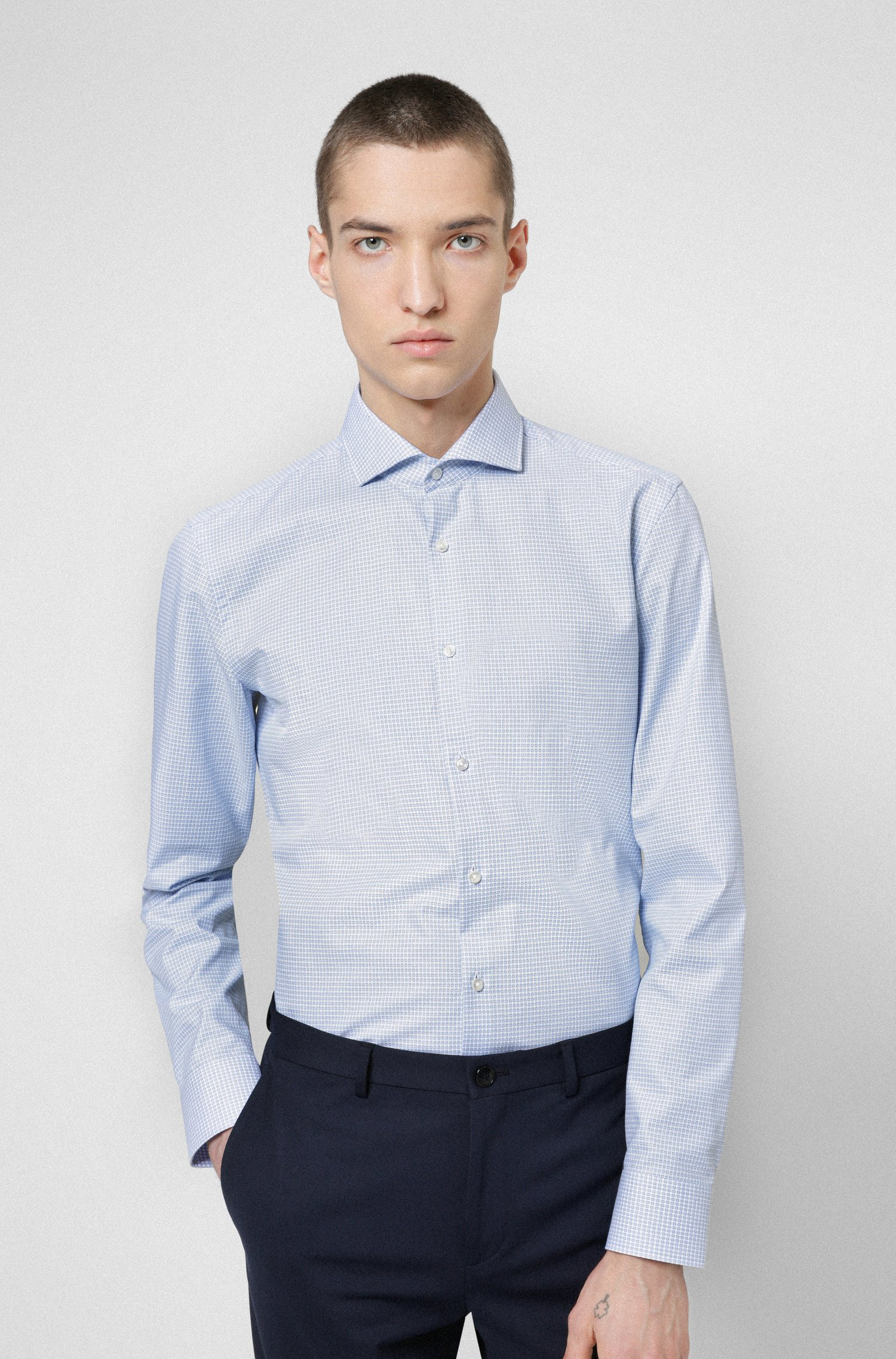 Slim-Fit Hemd aus strukturiertem Baumwoll-Canvas, Hellblau