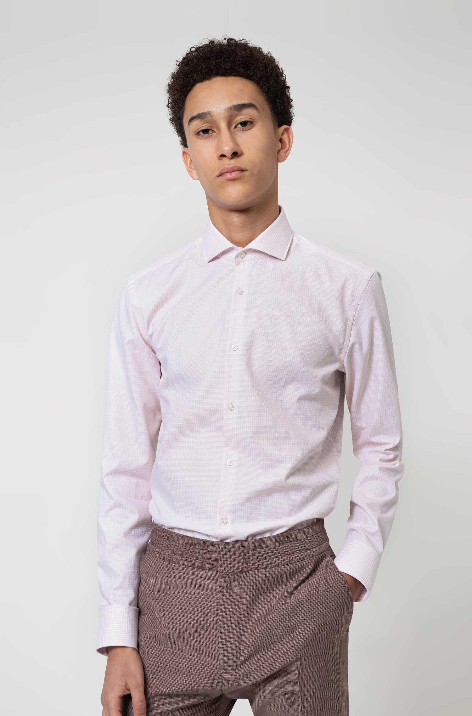 Slim-Fit Hemd aus strukturiertem Baumwoll-Canvas, Hellrosa