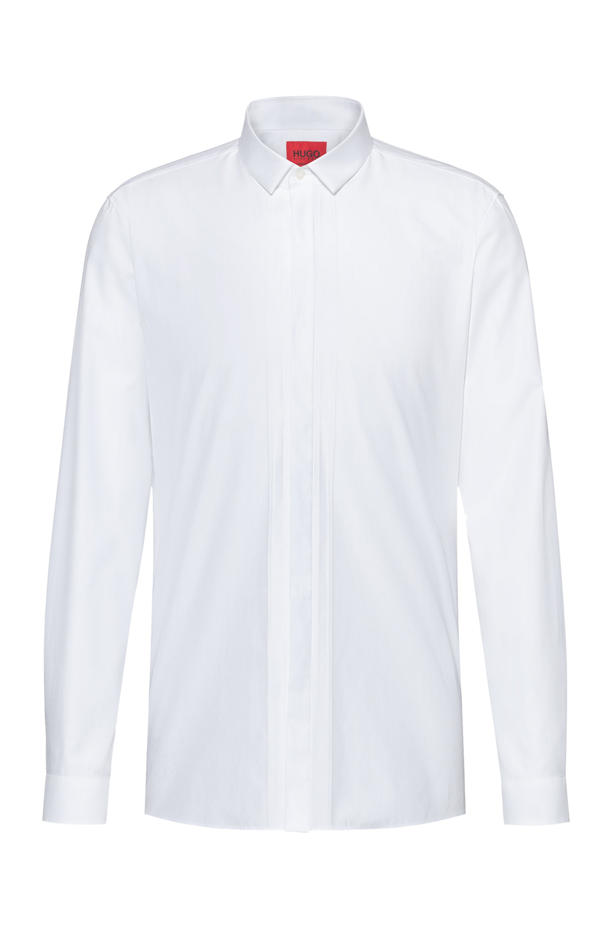 Extra-slim-fit evening shirt in placement-stripe cotton, White