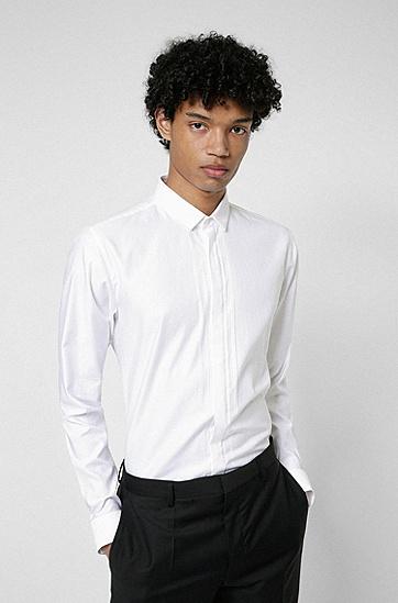 条纹棉质修身晚宴衬衫,  199_Open White