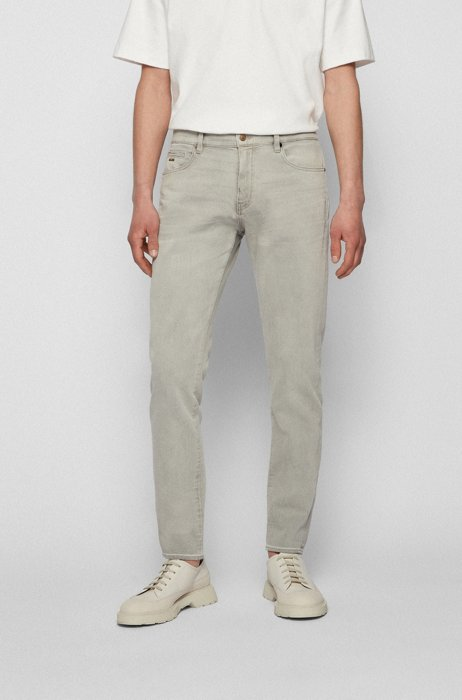 Tapered-fit jeans in bleached stretch denim, Light Grey