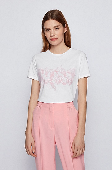 花卉主题徽标艺术图案天然棉 T 恤,  100_White