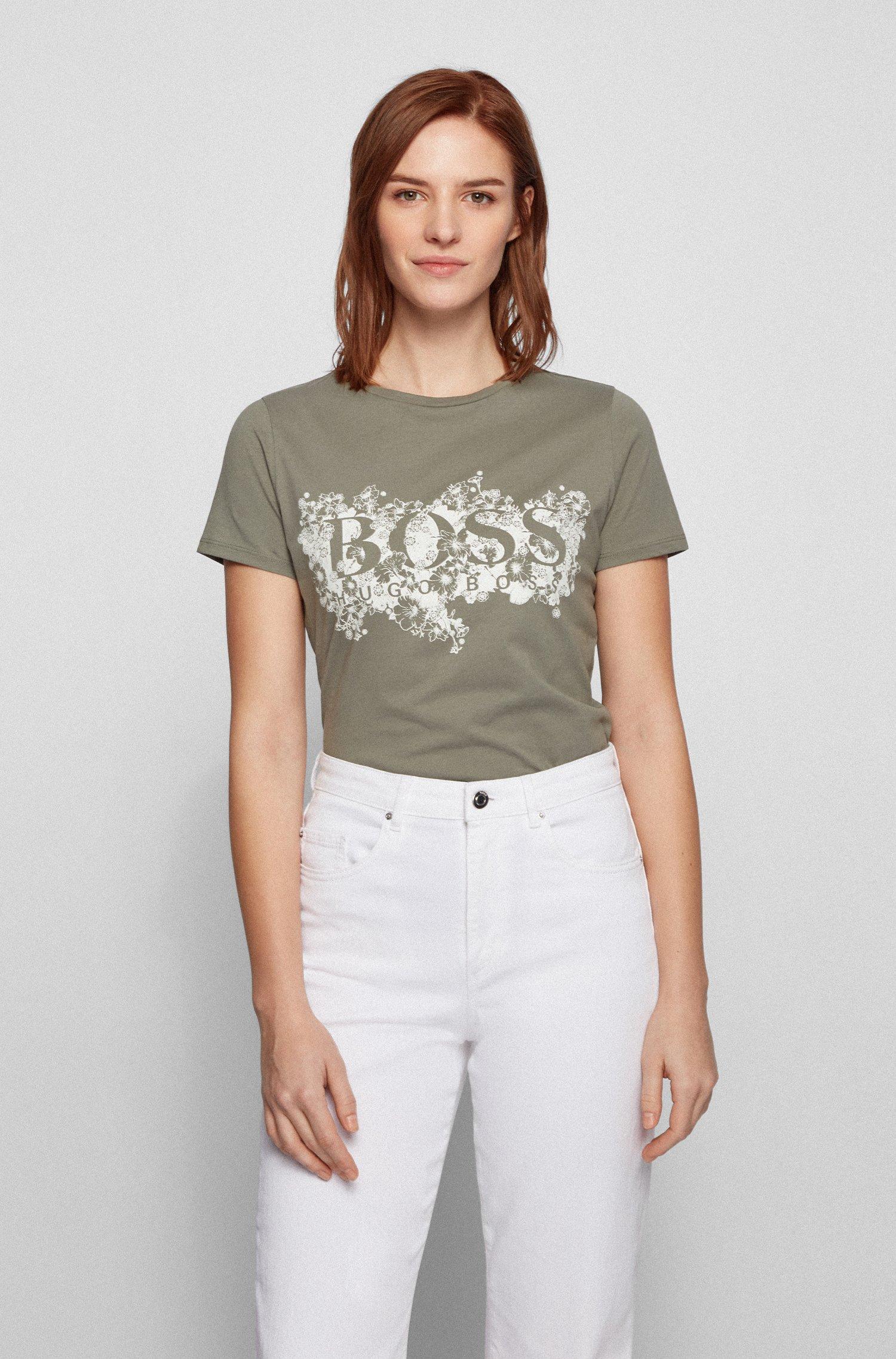 Organic-cotton T-shirt with floral-themed logo artwork, Dark Green