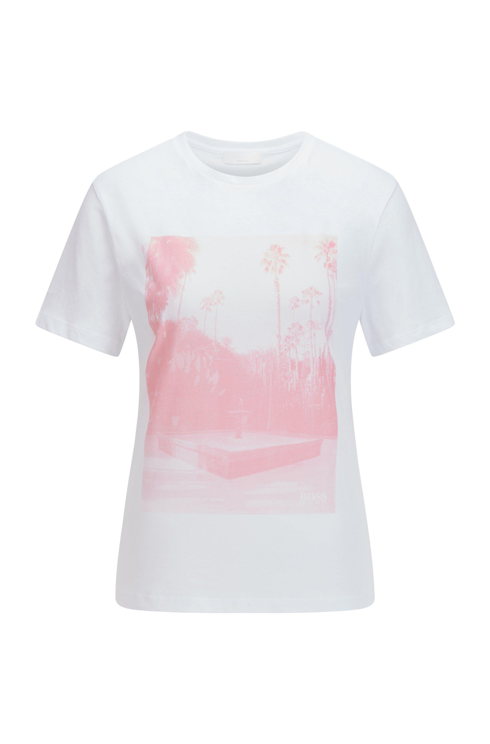 T-shirt en coton biologique à col rond et imprimé photographique, Blanc