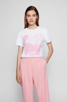 Camiseta de algodón orgánico con estampado fotográfico y cuello redondo, Blanco