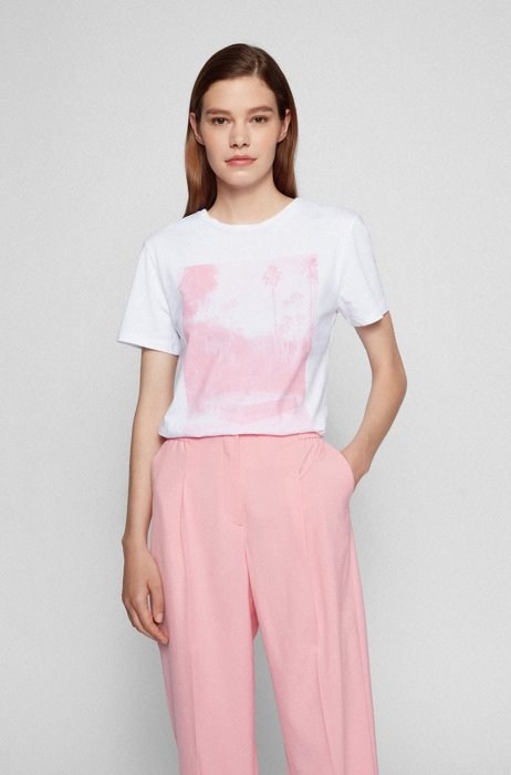 Crew-neck T-shirt in organic cotton with photographic print, White
