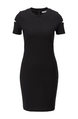 Ottoman-jersey dress with cutaway sleeves and concealed zip, Black