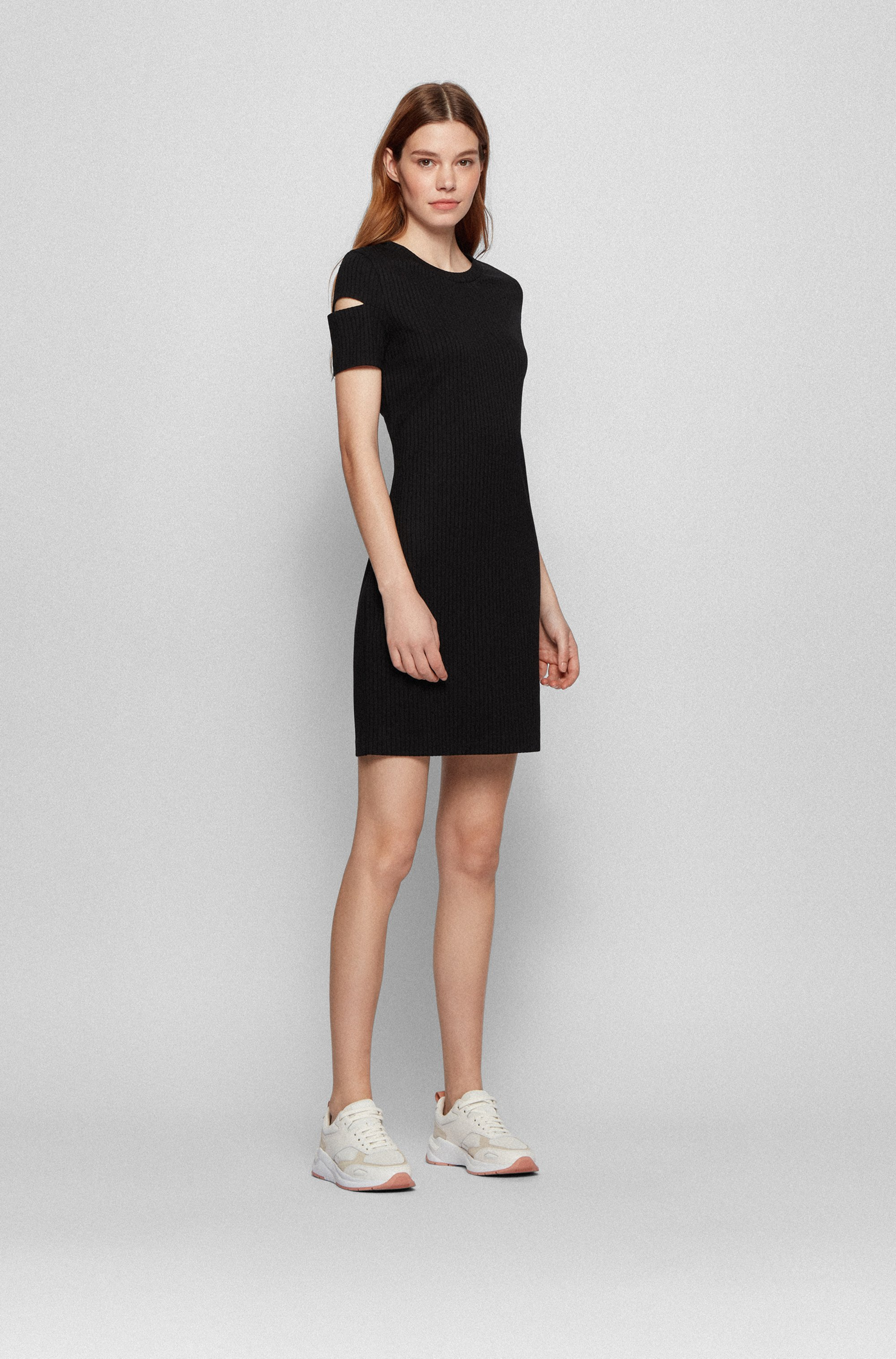 Ottoman-jersey dress with cutaway sleeves and concealed zip