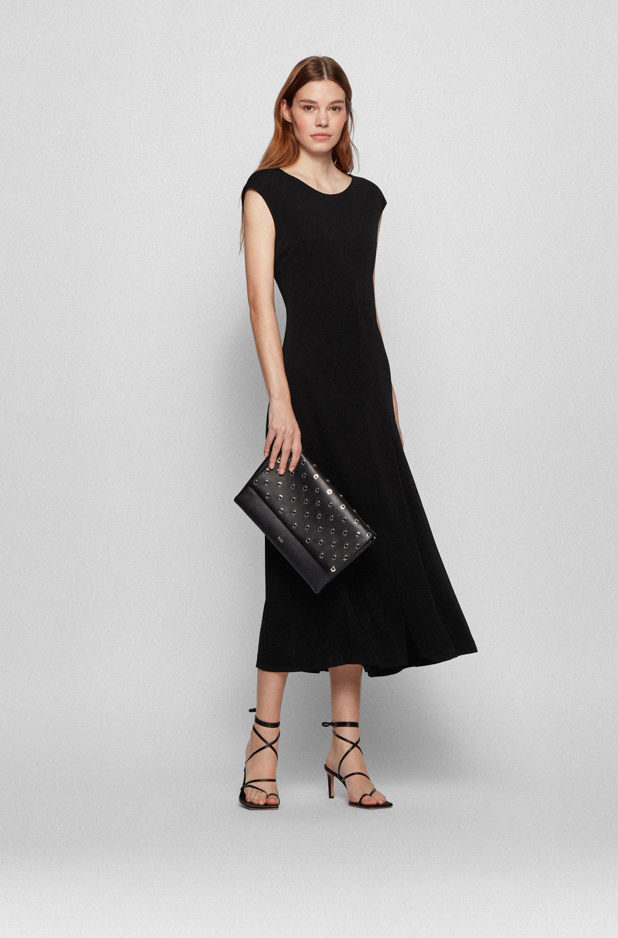 Jersey maxi dress with plissé detailing
