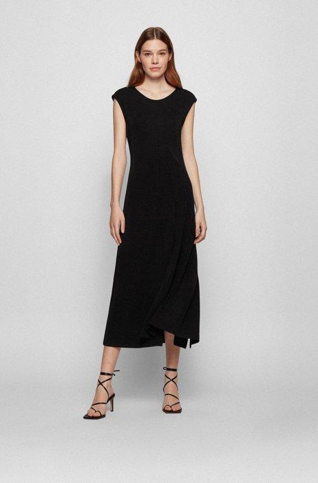 Jersey maxi dress with plissé detailing, Black