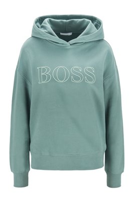 Sweat à capuche Relaxed Fit avec logo brodé en contour, Turquoise