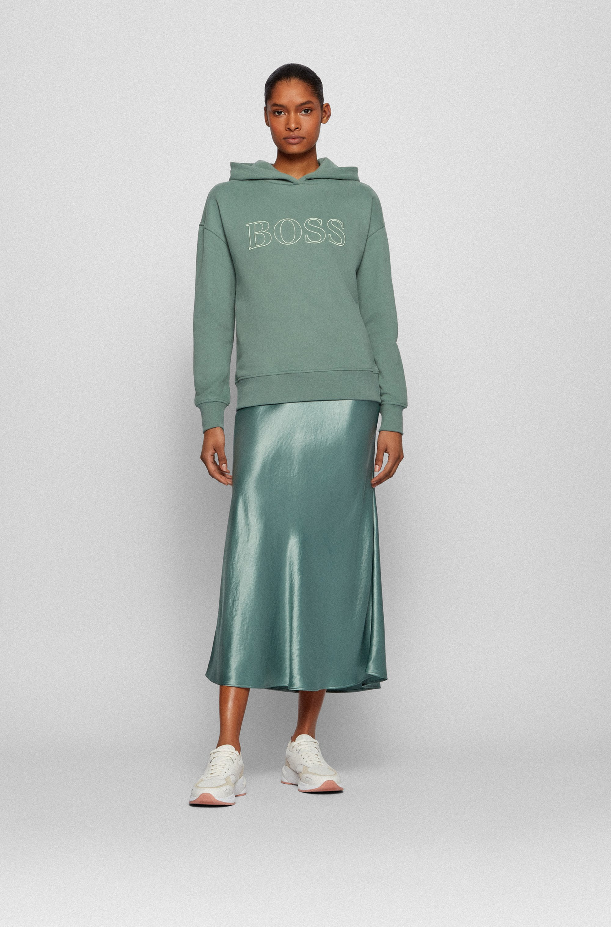Relaxed-fit hooded sweatshirt with embroidered logo outline