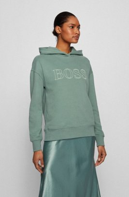 Relaxed-fit hooded sweatshirt with embroidered logo outline, Turquoise