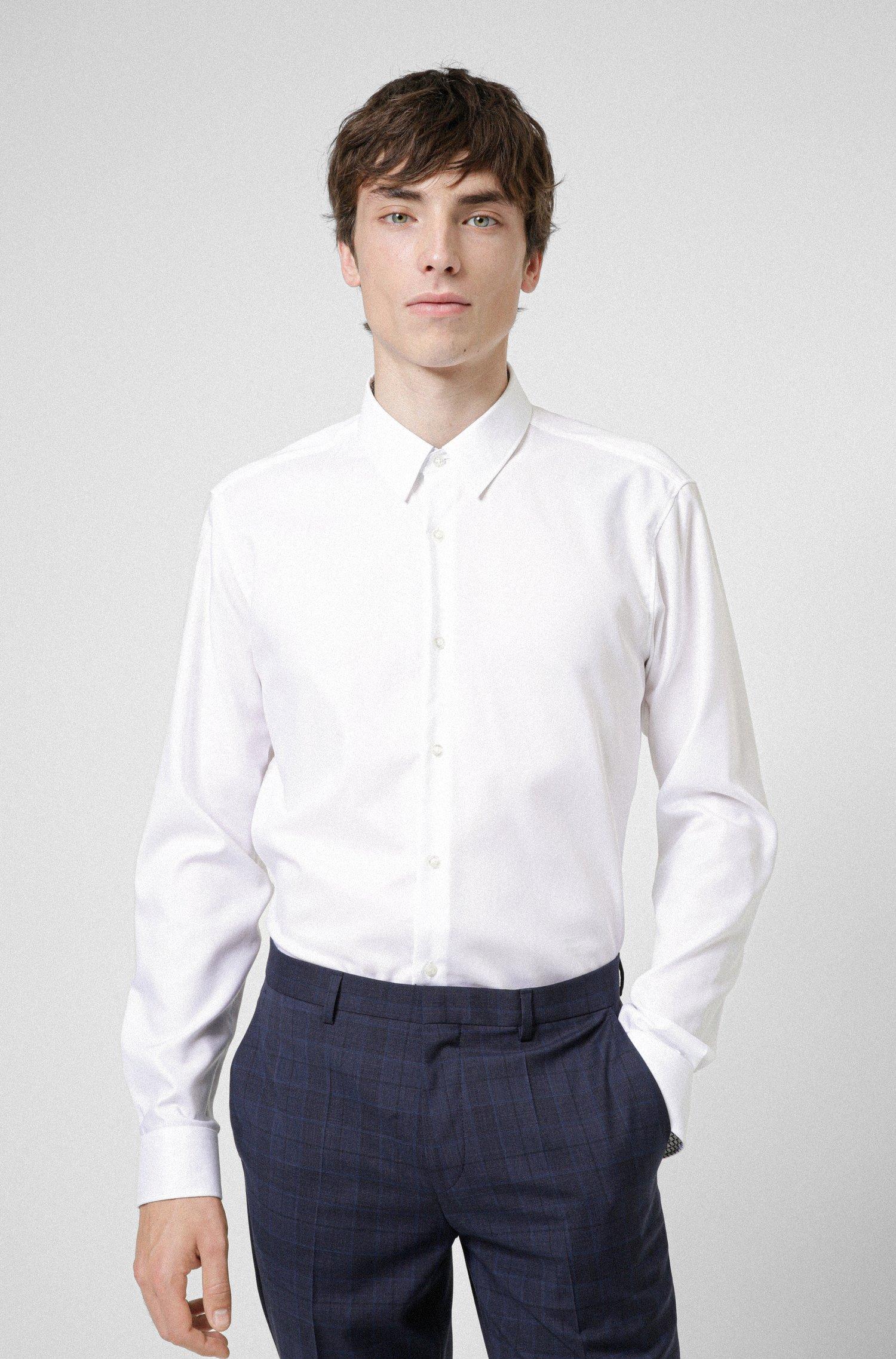 Regular-fit overhemd van gemakkelijk te strijken oxfordkatoen, Wit