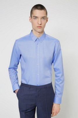 Regular-fit overhemd van gemakkelijk te strijken oxfordkatoen, Lichtblauw