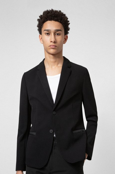 Extra-slim-fit jacket with tonal contrasts, Black