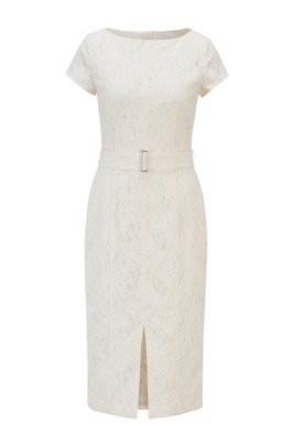 Short-sleeved shift dress in bonded lace, White