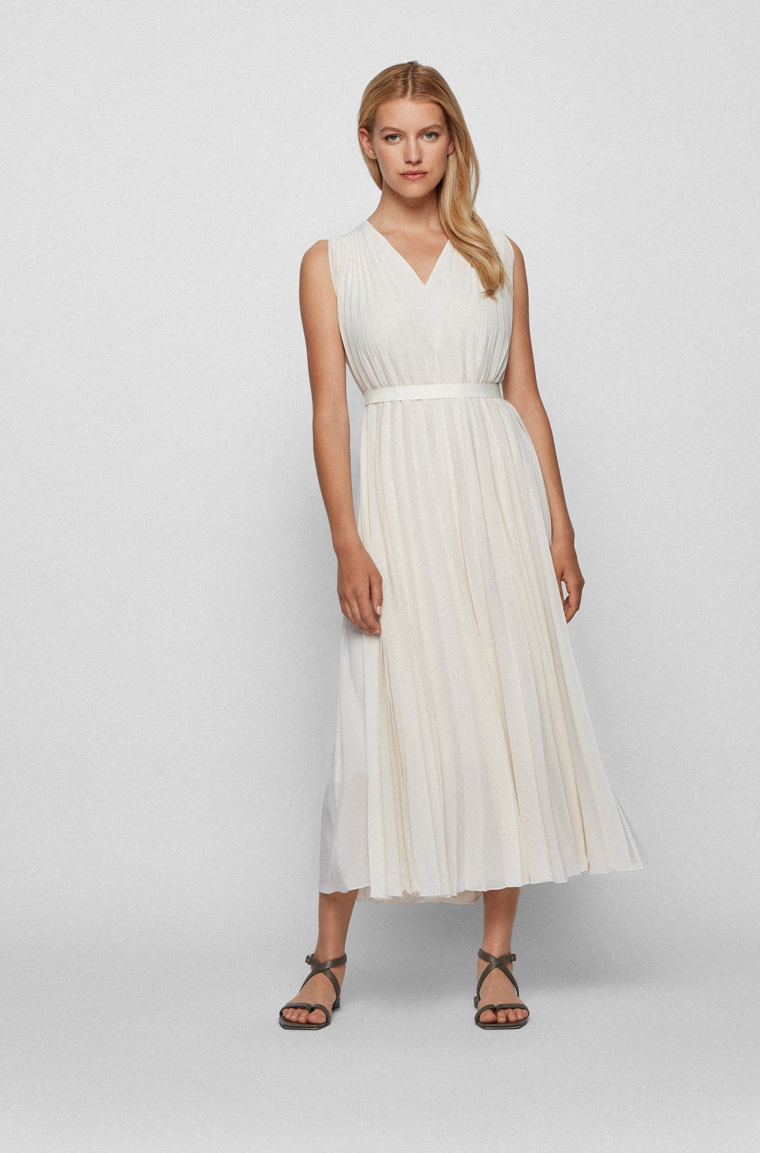 V-neck midi dress in recycled plissé chiffon, White