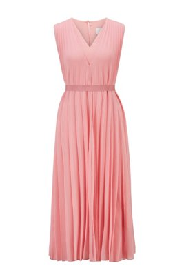 V-neck midi dress in recycled plissé chiffon, Pink