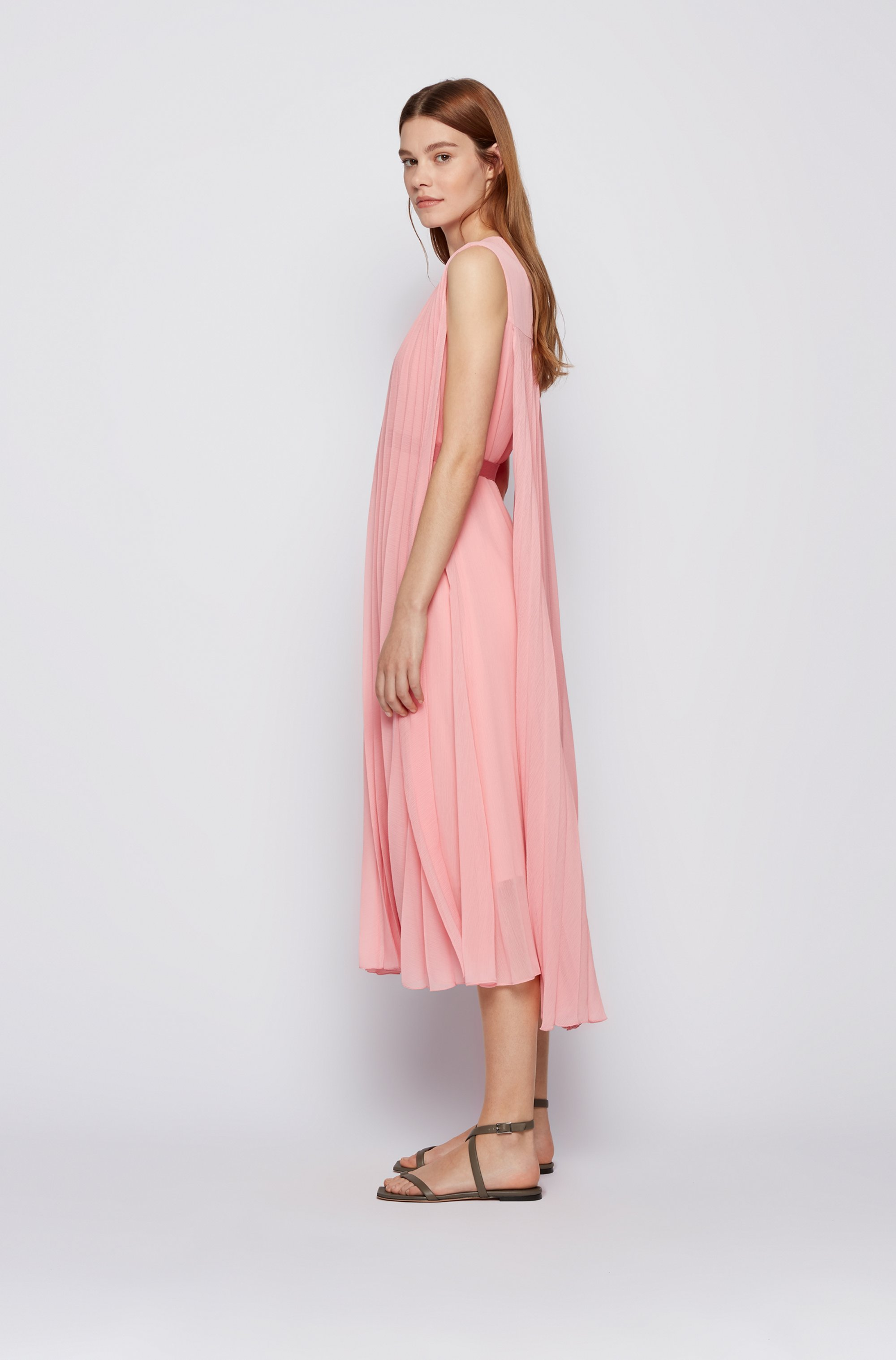 V-neck midi dress in recycled plissé chiffon