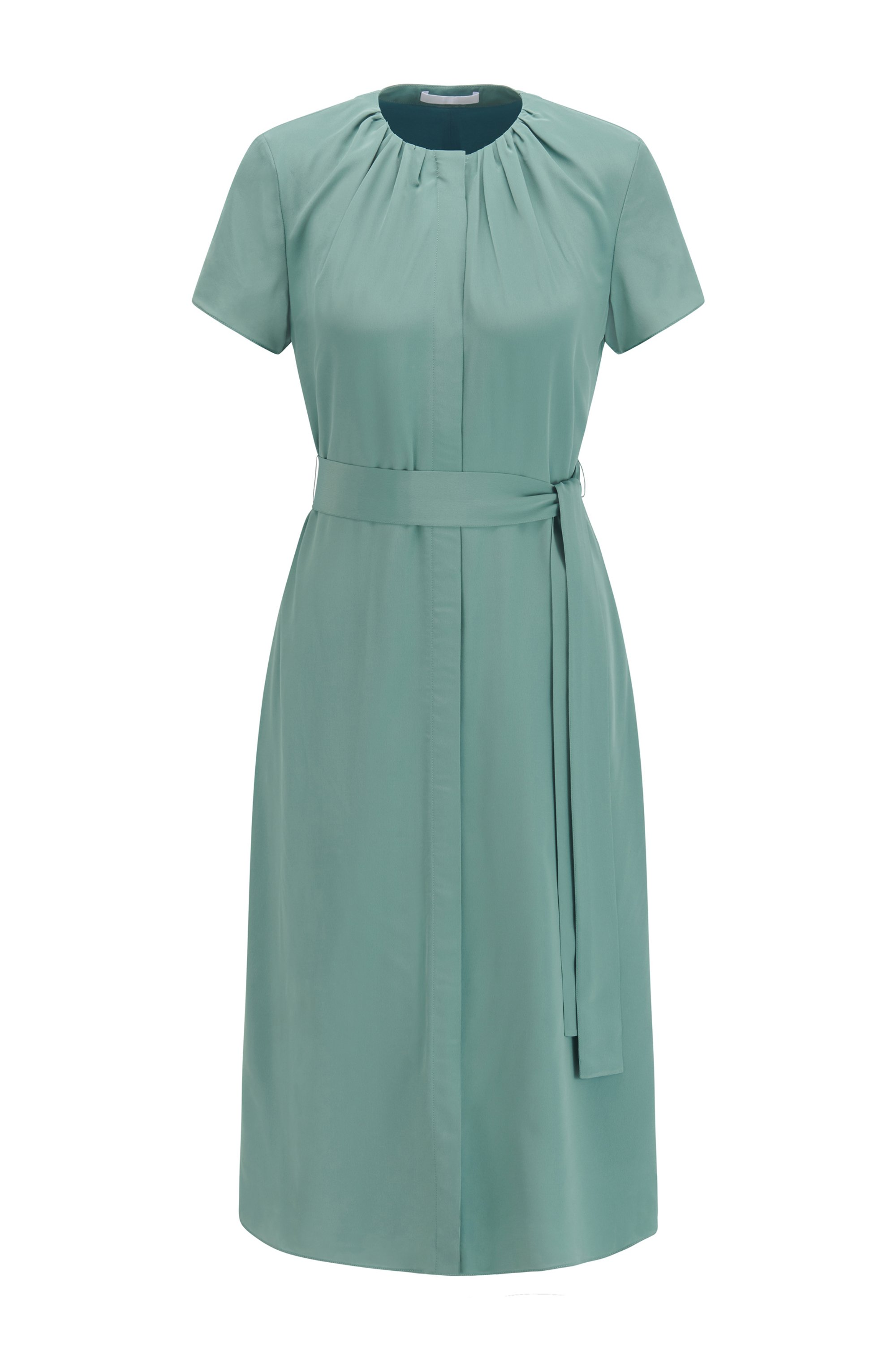 Crinkle-crepe midi dress with ruched neckline, Turquoise