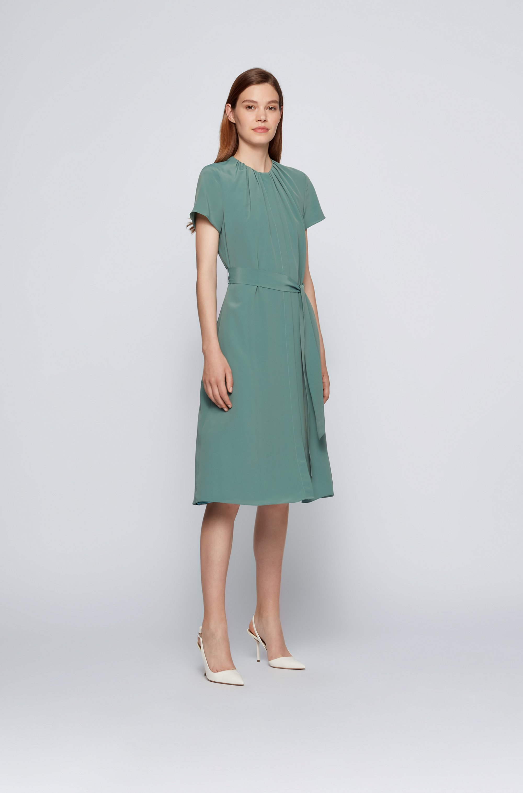 Crinkle-crepe midi dress with ruched neckline