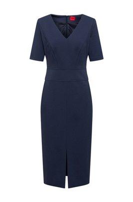 V-neck shift dress in jersey with front slit, Dark Blue