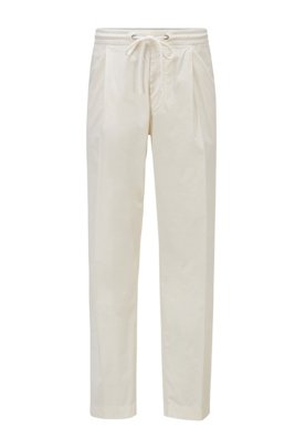 Pleat-front trousers in paper-touch stretch cotton, White