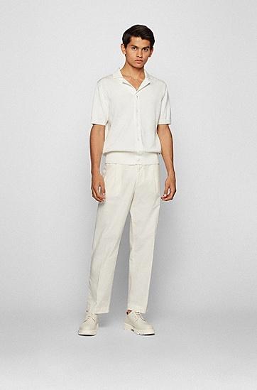 纸感弹力棉正面打褶长裤,  118_Open White