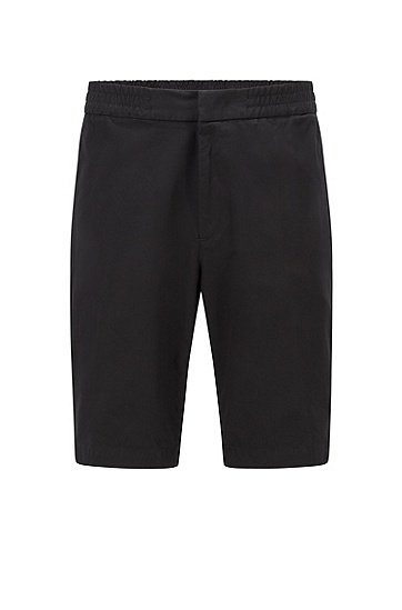 双向弹力棉质混纺斜纹布修身短裤,  001_Black