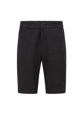 Slim-fit shorts in bi-stretch cotton-blend twill, Black