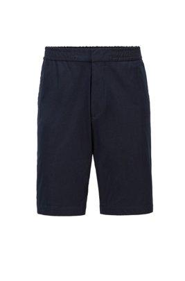 Slim-fit shorts in bi-stretch cotton-blend twill, Dark Blue