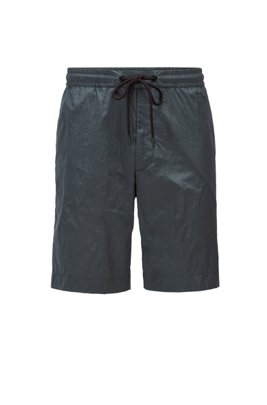 Lightweight drawstring shorts in crinkled fabric, Dark Green