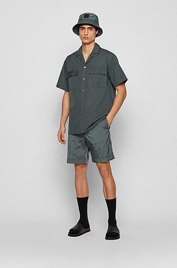 褶皱面料轻盈抽绳短裤,  301_Dark Green