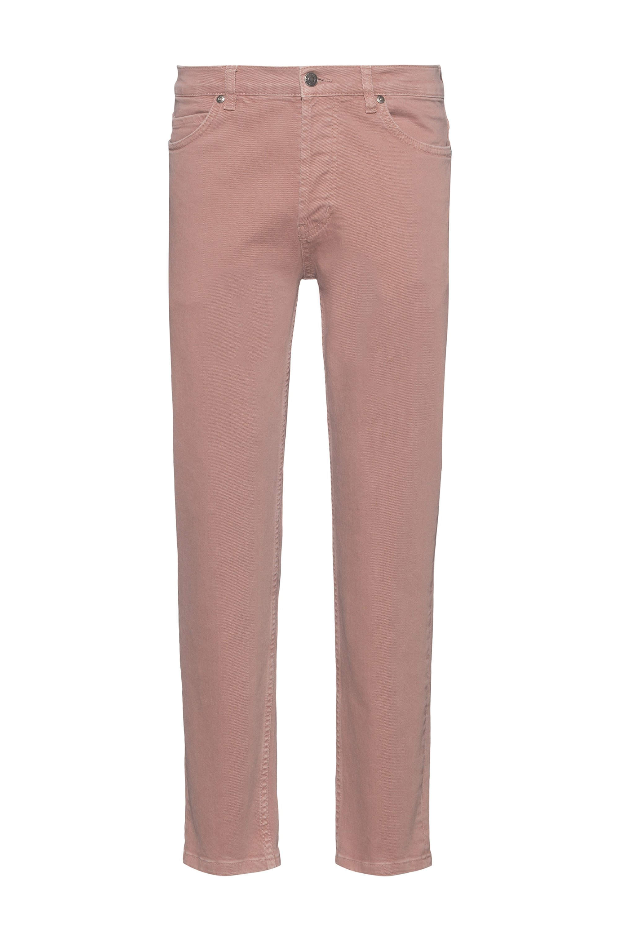Tapered-fit jeans in stretch denim with organic cotton, light pink